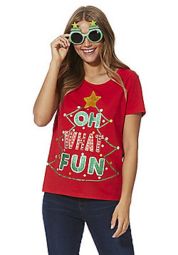 F&F Oh What Fun Slogan Christmas T-Shirt with Glasses - Red