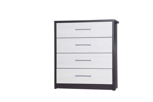 Alto Furniture Avola 4 Drawer Chest - Grey Carcass With White Avola