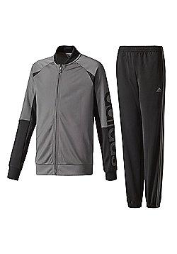 adidas Linear Kids Youth Full Zip Tracksuit Set Jacket Grey/Black - Grey