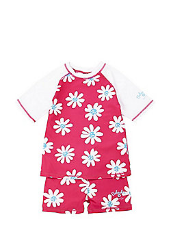 Babeskin Daisy Print UPF50+ Rash Top and Shorts Set - Pink