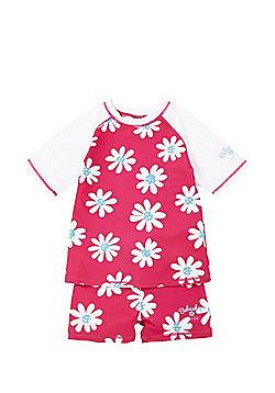 Babeskin Daisy Print UPF50+ Rash Top and Shorts Set - Pink