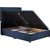 Luxan Harvard Ottoman Divan Base - Denim Blue Velvet Fabric - Small Single 2ft6