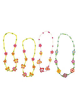 Bigjigs Toys Snazzy Wooden Necklaces (Pack of 4 - 3 Green and 1 Pink)
