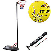 Bee-Ball Adjustable Netball Post Package. Netball Hoop, Size 4 Mitre Attack Netball and Pump