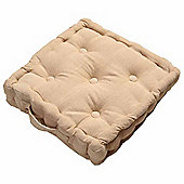 Homescapes Rajput Ribbed Cotton Floor Cushion Beige
