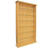 Wall Display Cabinet With Six Glass Shelves - Beech