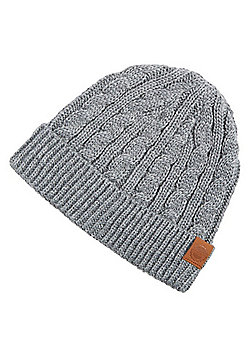 F&F Cable Knit Beanie Hat - Grey