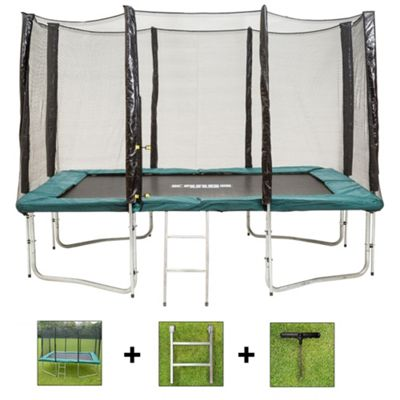 Up and About Rectangular 8x12ft Jump Easy Trampoline Package with Free Ladder and Building Tool