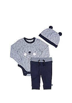 F&F Bear Bodysuit, Hat and Joggers Set - Blue