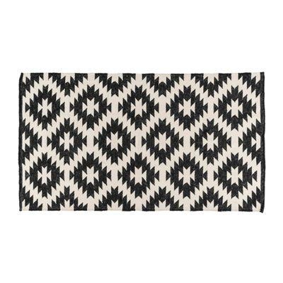 Homescapes Zurich Handwoven Black and White 100% Cotton Geometric Pattern Kilim Rug, 160 x 230 cm
