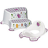 Happy Friends Hippo Toddler Toilet Training Seat & Double Step Stool Combo - White