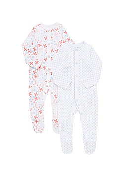 F&F 2 Pack of Floral Print Sleepsuits - Multi