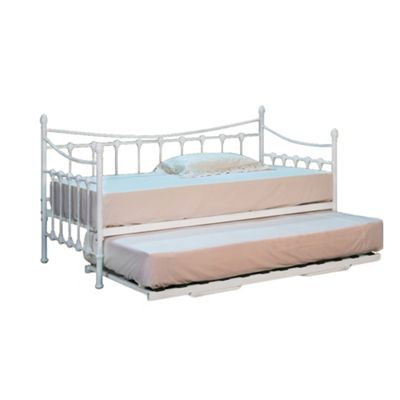 Comfy Living 3ft Single Ornate Day Bed in White TRUNDLE INCLUDED with 2 Sprung Mattresses