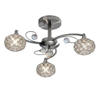 Cara Semi Ceiling 3 Light Satin Nickel/Crystal