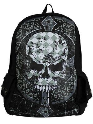 Banned Gothic Skull Black Backpack