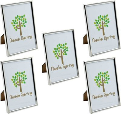 Nicola Spring Silver Metal 4x6 Photo Frame - Standing - Pack Of 5