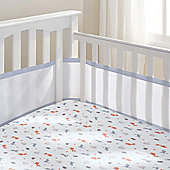 Breathable baby Cot Mesh Liner - White with Grey Trim