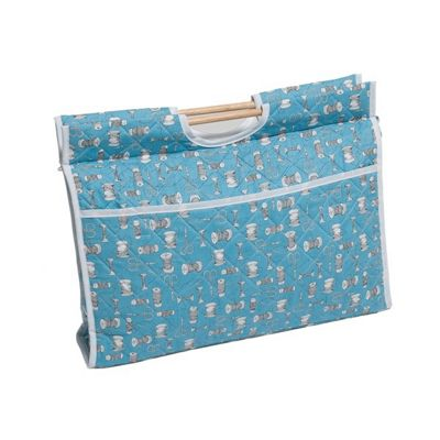 Hobby Gift Knit Craft Bag Bobbins and Scissors on Blue