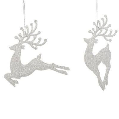 Silver Sparkly Reindeers - Set of Two