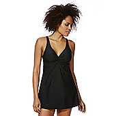 F&F Shaping Swimwear Twist Front Swim Dress - Black