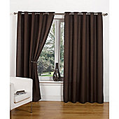 Hamilton McBride Canvas Unlined Ring Top Curtains - Chocolate
