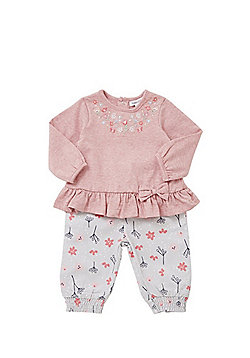 Babaluno Embroidered Peplum Top and Floral Corduroy Trousers Set - Pink