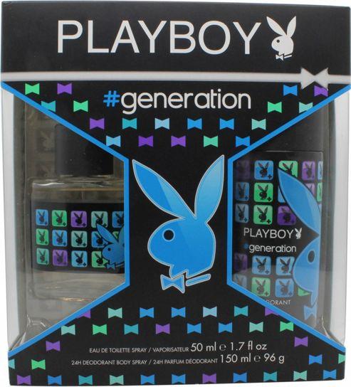 Playboy Generation For Him Gift Set 50ml EDT + 150ml Body Spray For Men
