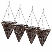 4 x 12in Traditional Rattan Cone Shaped Hanging Baskets