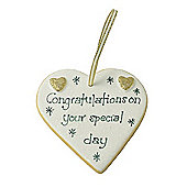 Congratulations Gold Sparkle Heart