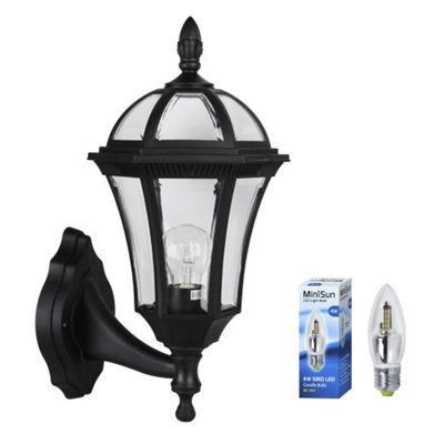 Hayfield IP44 Outdoor LED Wall Light in Black with Warm White Candle Bulb