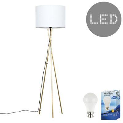 Camden Tripod LED Floor Lamp - Gold & Cream
