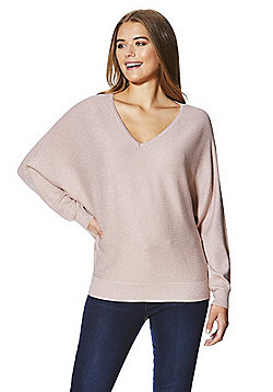 F&F Metallic Rib Knit Batwing Jumper - Blush pink