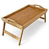 Lightweight Wooden Bamboo Serving Tray with Folding Legs 50 x 30 x 25cm