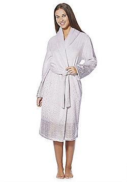 F&F Foil Print Fleece Dressing Gown - Grey