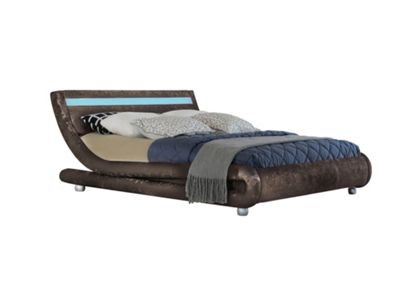 Comfy Living 5ft King Size Crushed Velvet Curved Bed Frame with LED Display in Brown