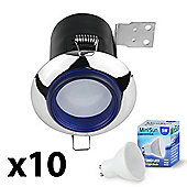 10 x Fire Rated LED GU10 Downlights with Blue Bezel - Warm White