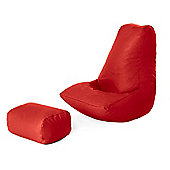 Faux Leather Gaming Beanbag With Footstool - Red