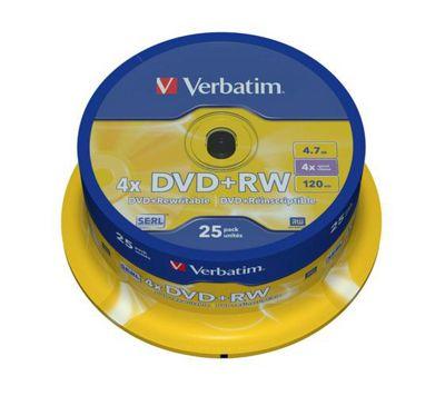 Verbatim DVD+RW Matt Silver Spindle 25 Pack