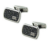 Black Jet Crystal Dog Tag Sterling Silver Cufflinks by Babette Wasserman