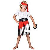 High Seas Pirate Girl Childrens Fancy Dress Costume Shirt, Skirt & Headband - White