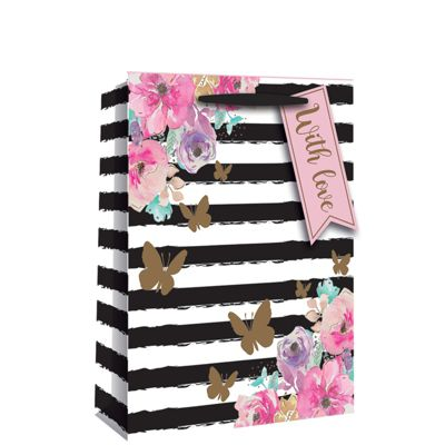 Floral Stripe Perfume Gift Bag - 20cm