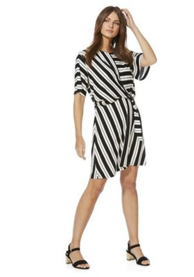 F&F Striped Knot Front Dress Black/White 10