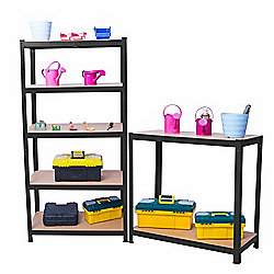 Heavy Duty 5 Tier Racking Shelves,Boltless Industrial Racking,180x90x40cm Industrial Strength & MDF, 900Kg Capacity Garage/Shed Storage Unit - Black