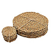 Argon Tableware Water Hyacinth Weave Placemats & Coasters - 3 Designs Available - Set Of 12 - Sea Grass