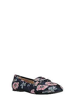 F&F Sensitive Sole Floral Bar Detail Loafers - Blue
