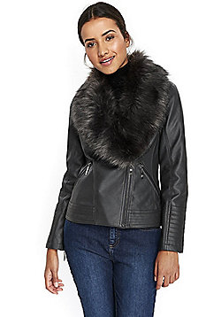 Wallis Faux Fur Collar Biker Jacket - Grey
