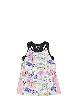 F&F Active Floral 2 in 1 Vest Top - Pink/Multi