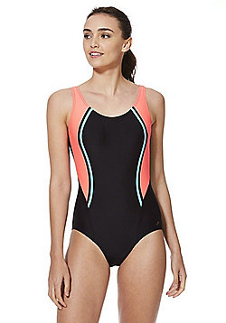 F&F Active Piped Side Panel Swimsuit - Black & Coral