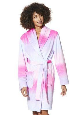 F&F Ombre Fleece Dressing Gown S Pink & Purple