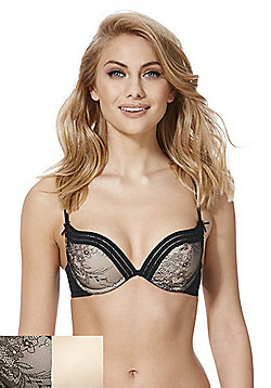 F&F Lola 2 Pack of Lace and Plain Push-Up Bras - Black & Nude
